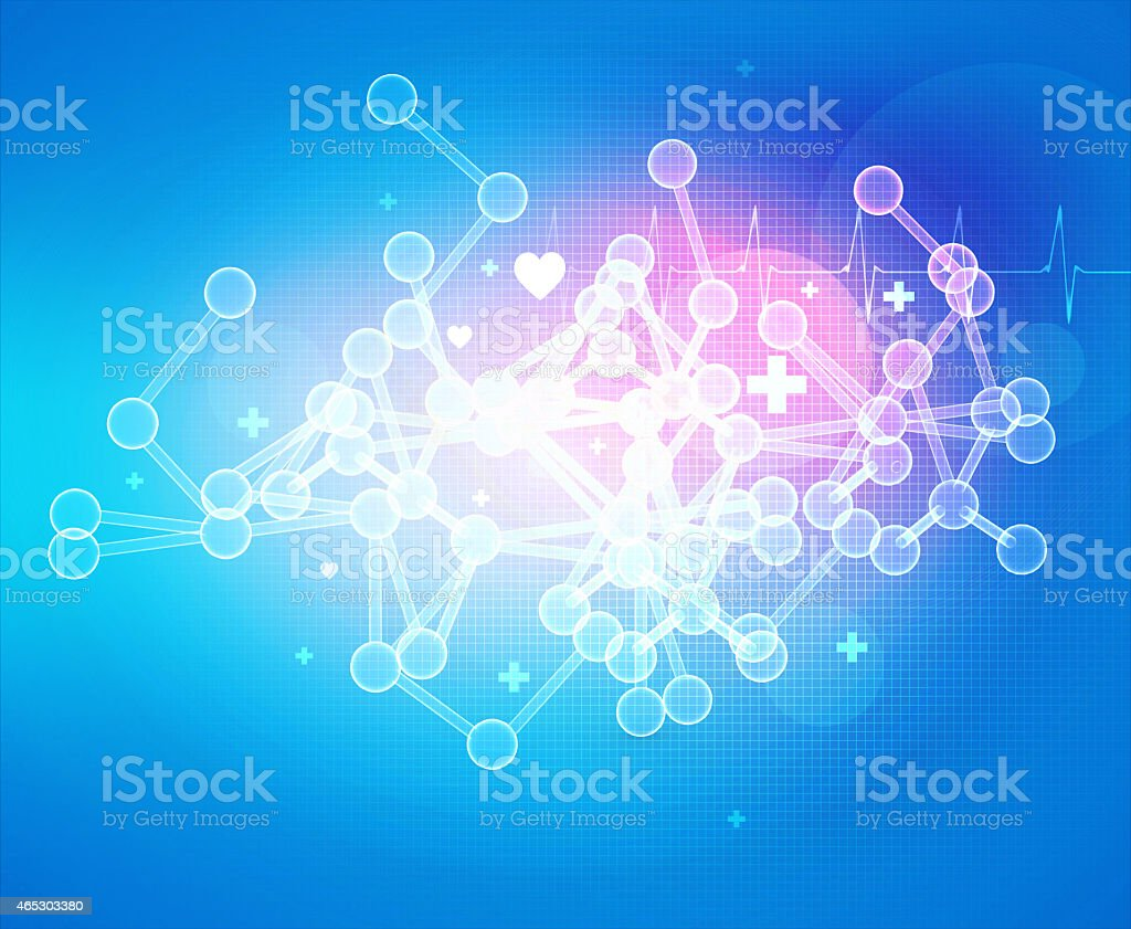 Abstract 3D molecules on blue background vector art illustration