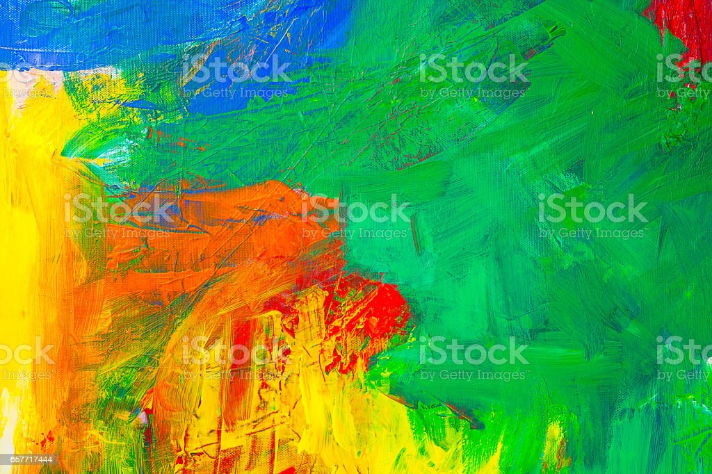 Abstract acrylic painting with Green, yellow, blue and red vector art illustration