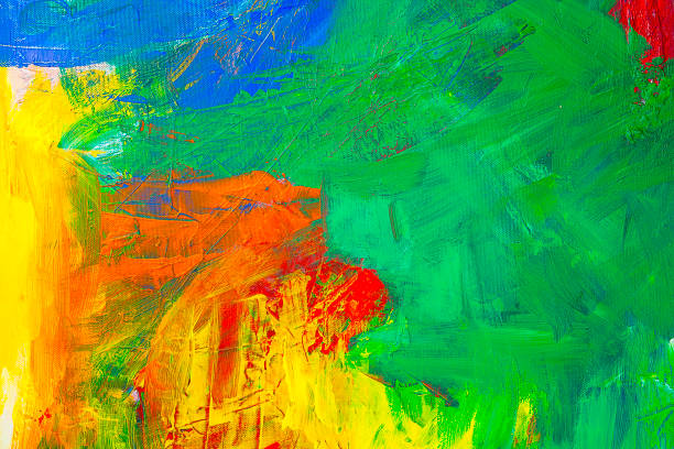 abstract acrylic painting with green, yellow, blue and red - acrylic painting stock illustrations