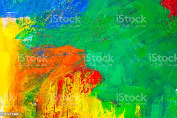 Abstract Acrylic Painting With Green Yellow Blue And Red Stock Illustration - Download Image Now
