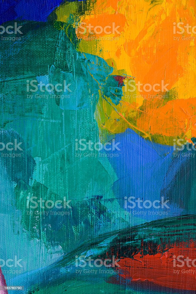 Abstract acrylic painting with yellow, red, blue, and green royalty-free stock vector art