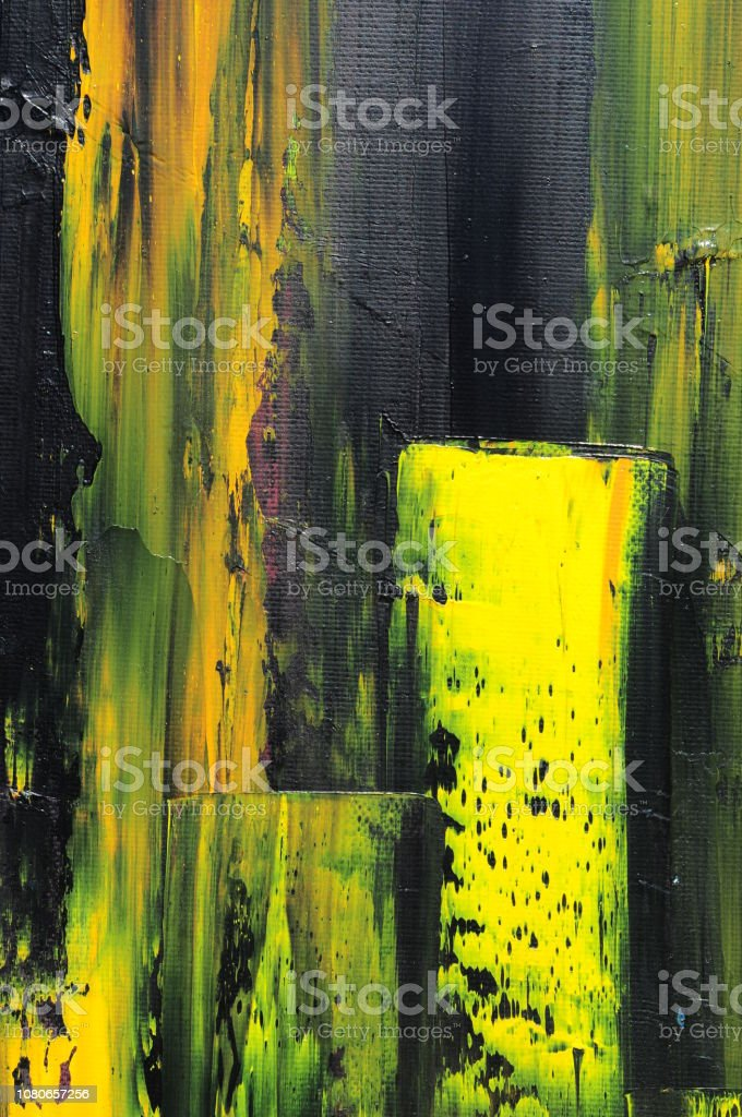 Abstract Art Background Yellow Green Black Stock