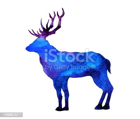 istock abstract art deer big horn watercolor painting illustration design hand drawing 1266823211
