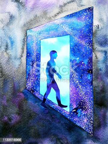 653098388istockphoto abstract art human walking through light blue window door to universe watercolor painting illustration design background hand drawn 1133516966