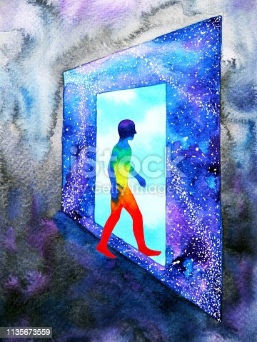istock abstract art human walking through light blue window door to universe watercolor painting illustration design background hand drawn 1135673559