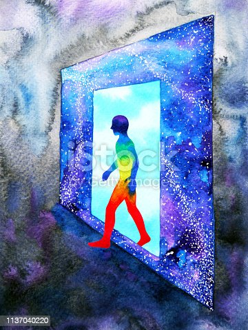 653098388istockphoto abstract art human walking through light blue window door to universe watercolor painting illustration design background hand drawn 1137040220