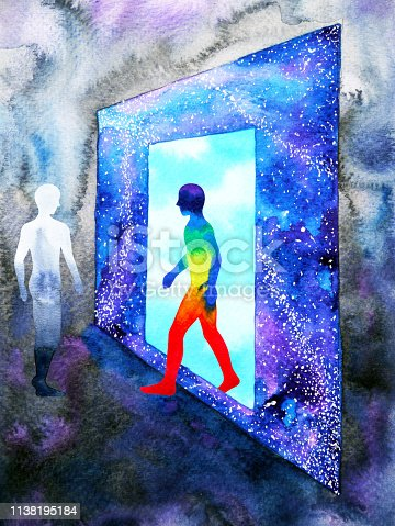 653098388istockphoto abstract art human walking through light blue window door to universe watercolor painting illustration design background hand drawn 1138195184