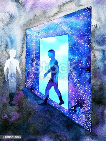 653098388istockphoto abstract art human walking through light blue window door to universe watercolor painting illustration design background hand drawn 1138559956
