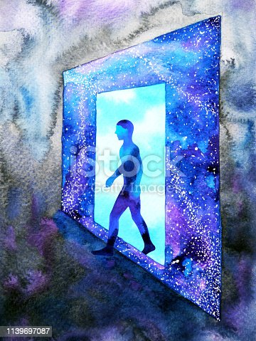 653098388istockphoto abstract art human walking through light blue window door to universe watercolor painting illustration design background hand drawn 1139697087