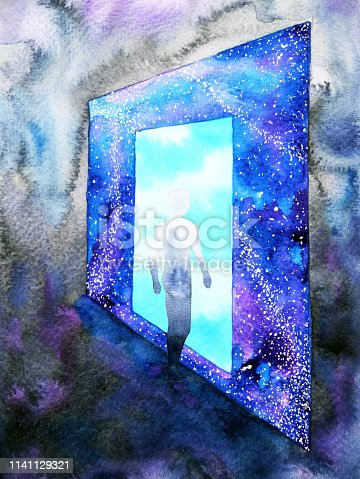 653098388istockphoto abstract art human walking through light blue window door to universe watercolor painting illustration design background hand drawn 1141129321