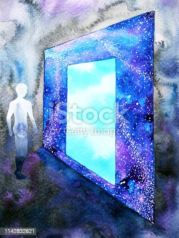 653098388istockphoto abstract art human walking through light blue window door to universe watercolor painting illustration design background hand drawn 1142832621