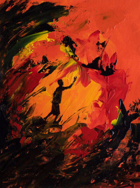 Abstract art of boy reaching out through a fire vector art illustration