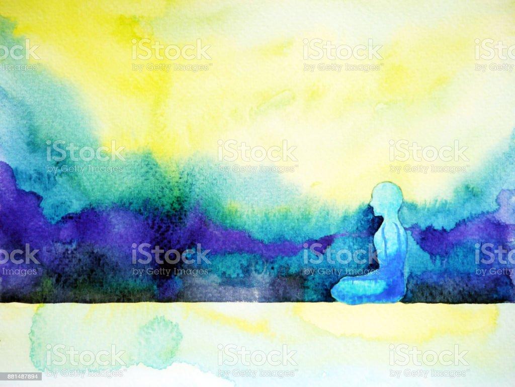 abstract art watercolor painting human meditating calm peace design hand drawn vector art illustration