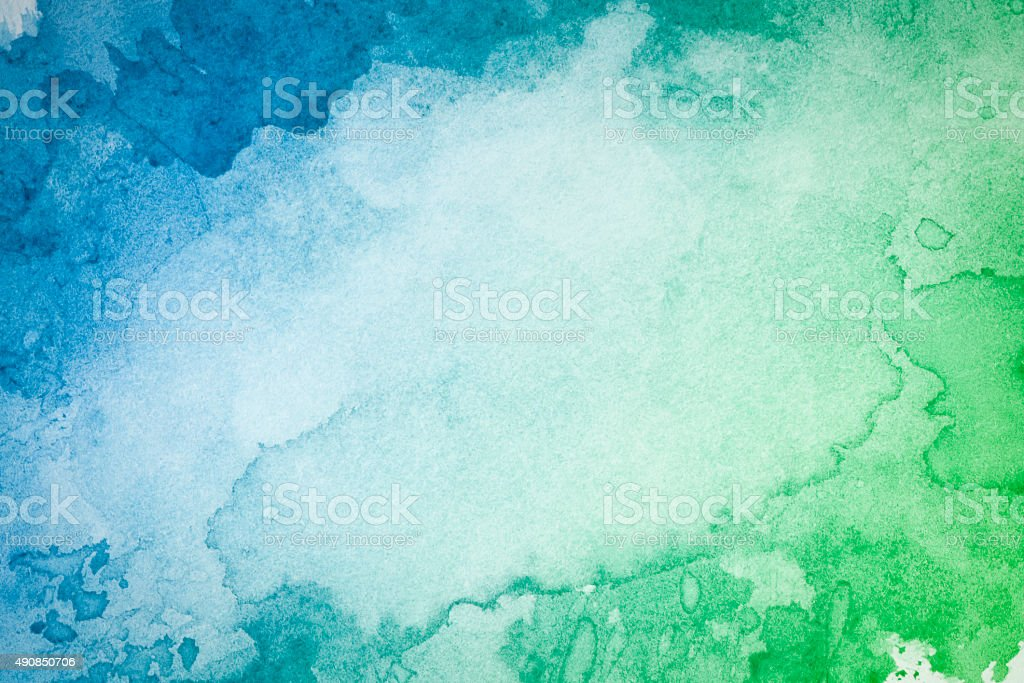 Abstract artistic green blue watercolor background vector art illustration