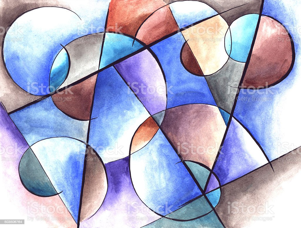 Abstract Artwork With Different Shapes And Lines Stock