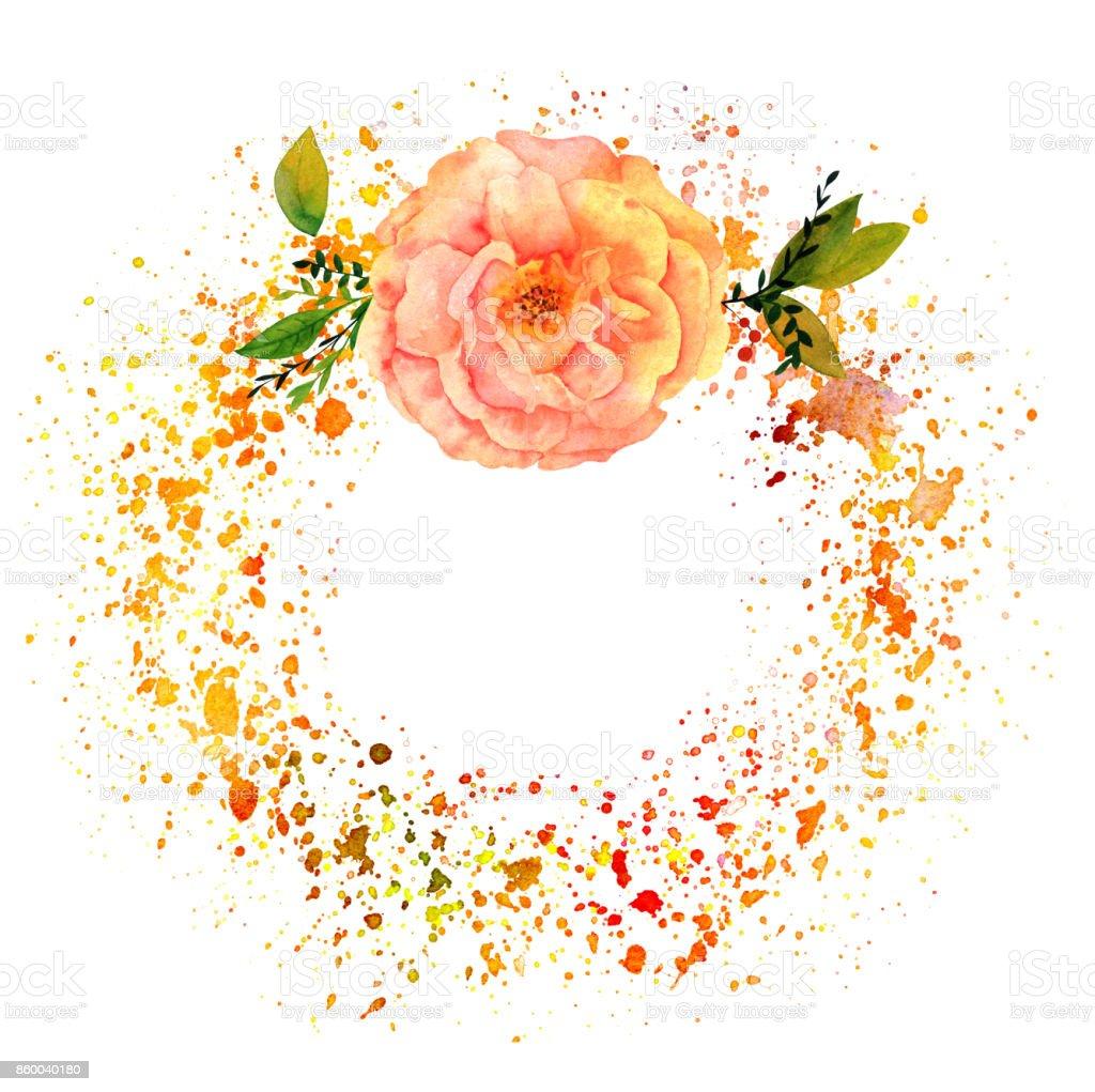 Abstrato de Outono com rosa, salpicos e copyspace - ilustração de arte em vetor