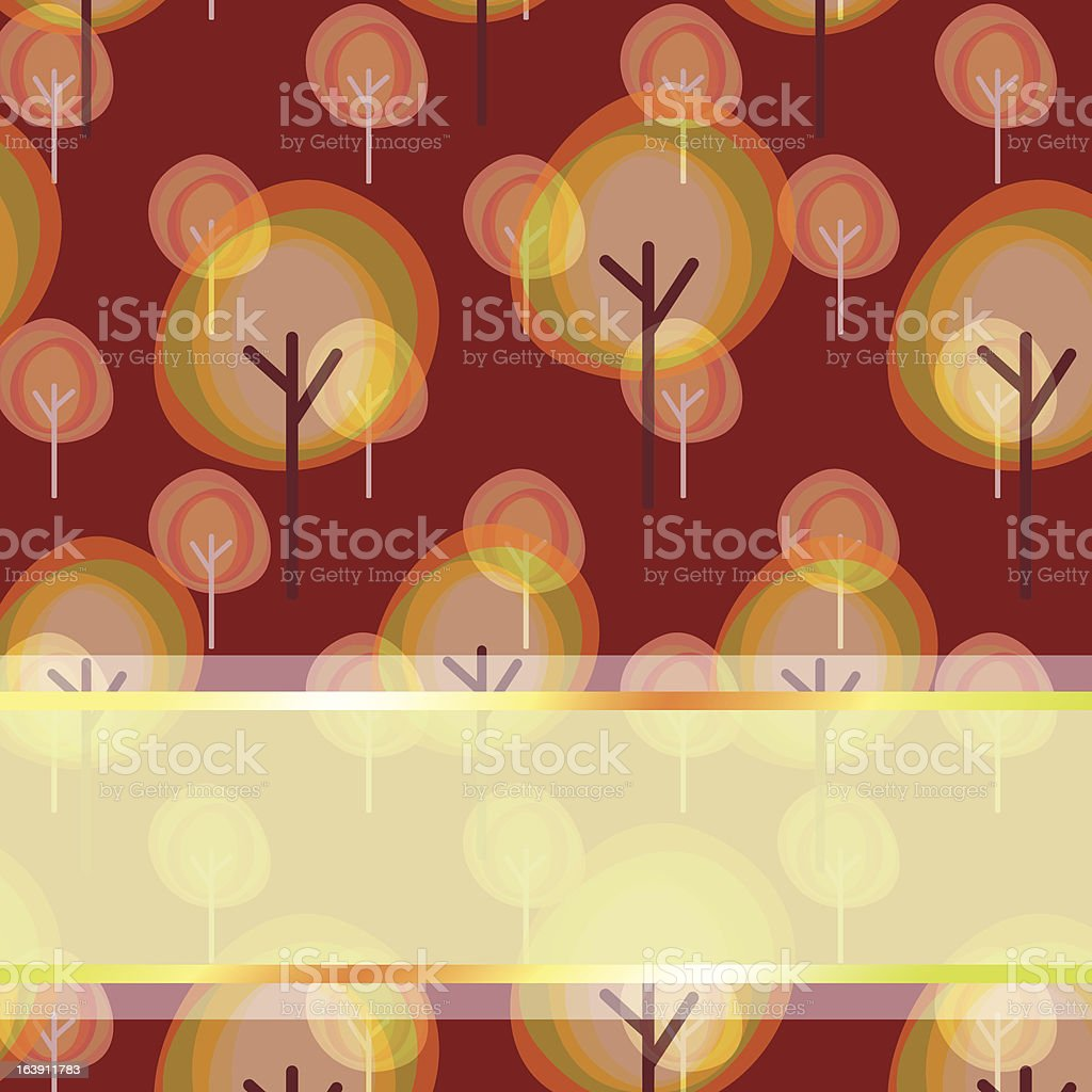 Abstract autumn tree seamless pattern greeting card royalty-free stock vector art