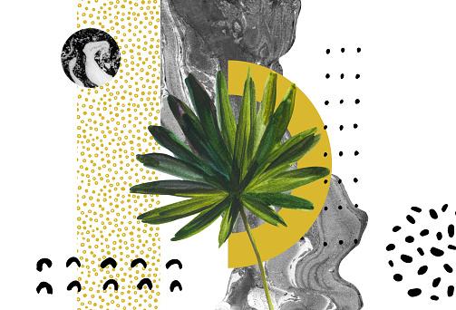 Abstract background: dynamic black golden brush stroke, minimal elements, tropical leaf.