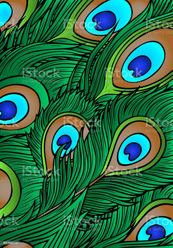 Abstract Background Is Of Peacock Feathersvector Stock ...