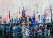 istock Abstract background, Modern skyscrapers oil painting. 1298898667