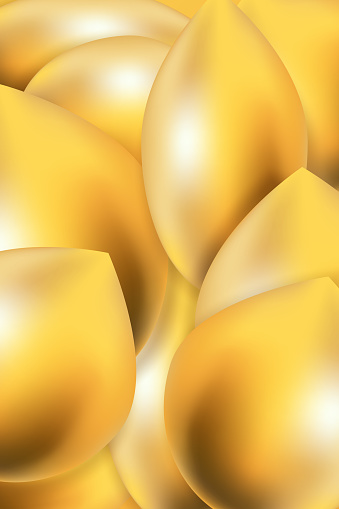 Abstract background of volumetric gold  drops