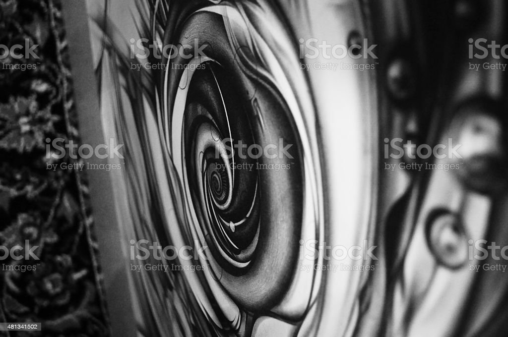 Abstract background with 3D-effect. Graphic drawinп, pencil and paper vector art illustration