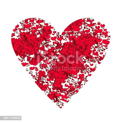 Abstract background with notes and hearts. Heart on white.