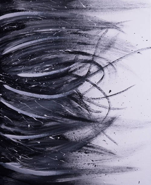Abstract black and white painting vector art illustration