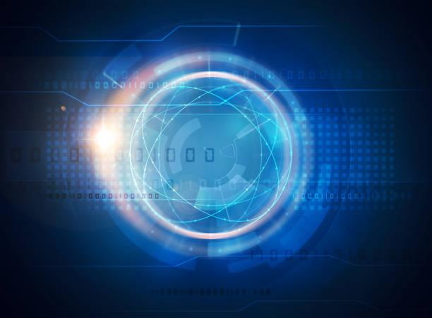 abstrakter blauer futuristischer wissenschaftlicher hintergrund - hell leuchtkraft stock-grafiken, -clipart, -cartoons und -symbole