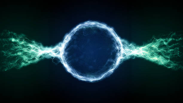 stockillustraties, clipart, cartoons en iconen met abstract blauw futuristische sci-fi plasma circulaire vorm met energie lichte lijnen - etherisch