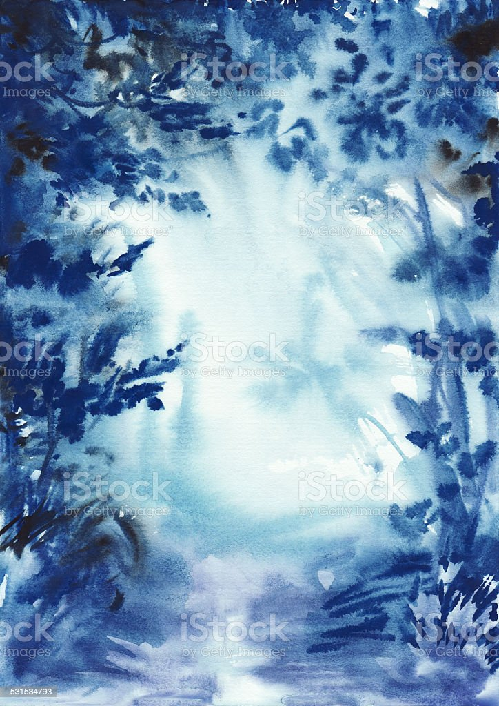 Abstract blue misty forest vector art illustration