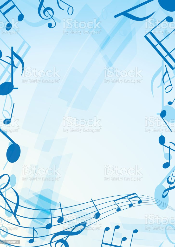 Abstract Blue Music Background Frame Stock Vector Art & More Images ...