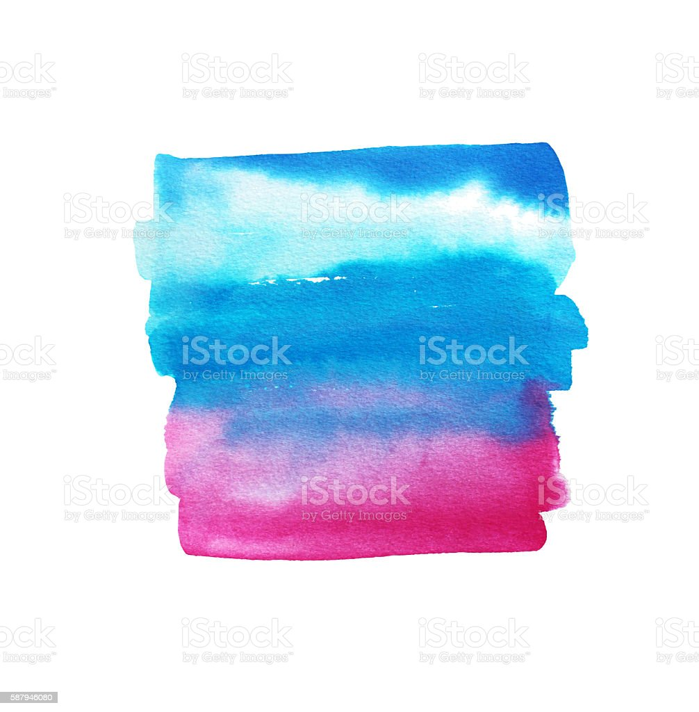 Abstract blue sky and pink watercolor background. vector art illustration