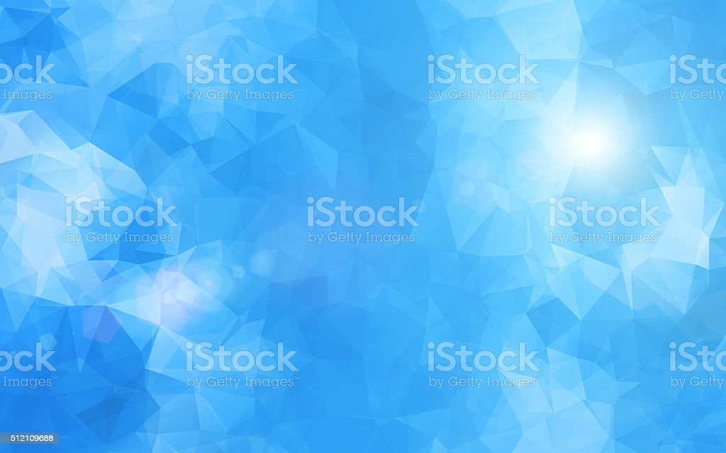 Abstract blue sky with triangle pattern background and shining light vector art illustration