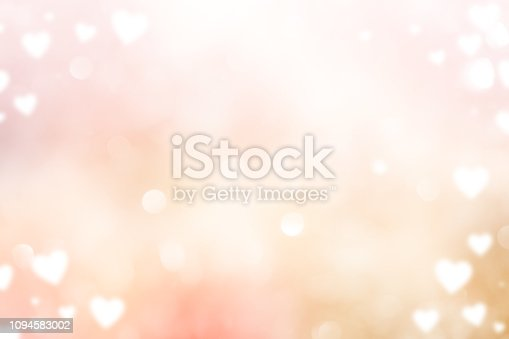 abstract blur beautiful pink color gradient and shine flash glowing background with illustration white heart shape light and valentines day 14 february concept