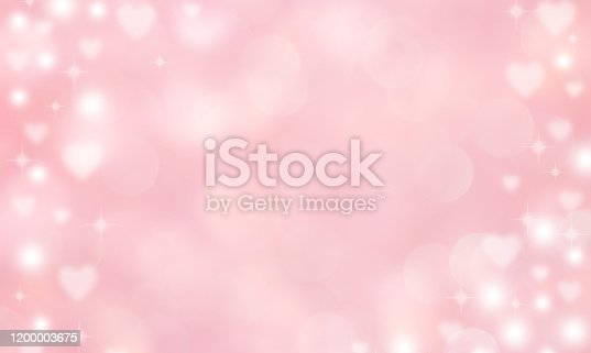 abstract blur beautiful pink color gradient and shine flash glowing background with illustration white heart shape light and twinkle for valentines day 14 february season of love concept