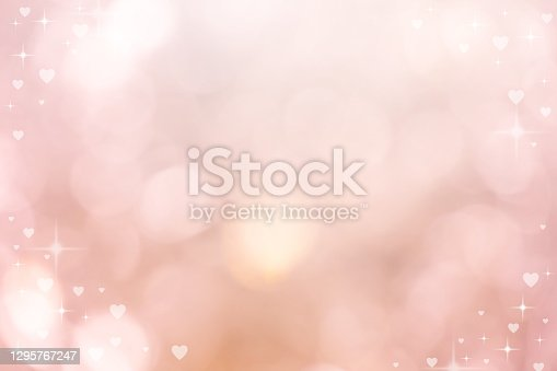 abstract blur beautiful pink color gradient and shine flash glowing in panoramic background with illustration white heart shape light and twinkle for valentines day 14 february season of love concept