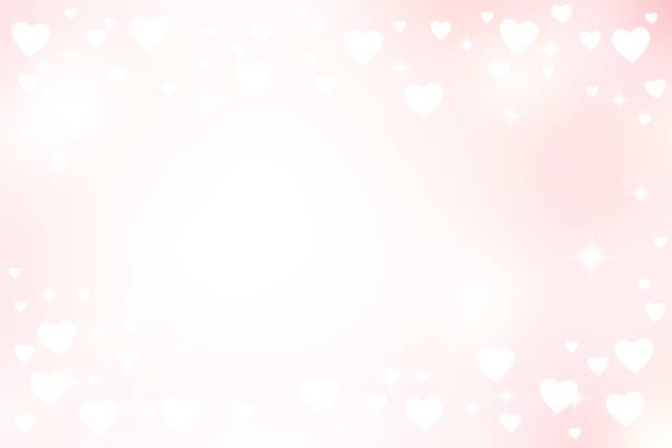 抽象模糊美麗的粉紅色漸變和白色閃耀發光的背景與插圖白色的心形狀和閃爍的星光為情人節2月14日的概念 - 淺粉色 幅插畫檔、美工圖案、卡通及圖標