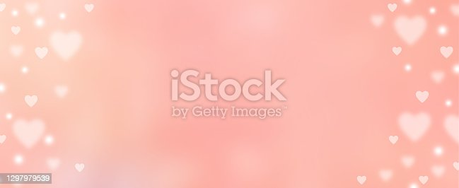 abstract blur beautiful pink color gradient in panoramic background with illustration white heart shape light and twinkle for valentines day 14 february season of love concept