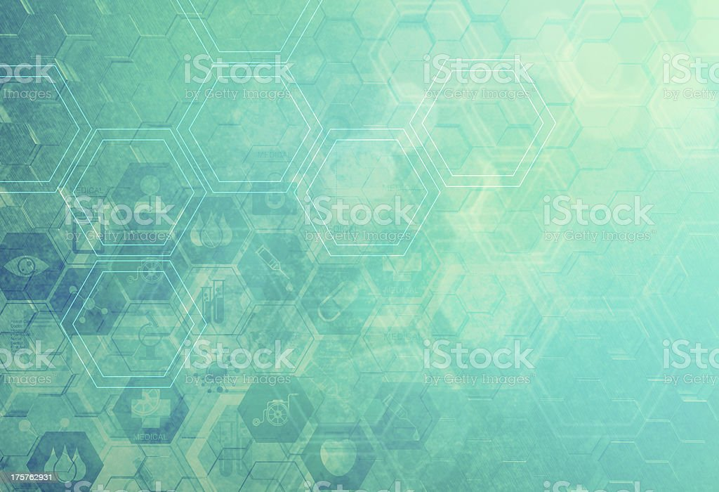 Abstract bokeh background of molecules royalty-free stock vector art