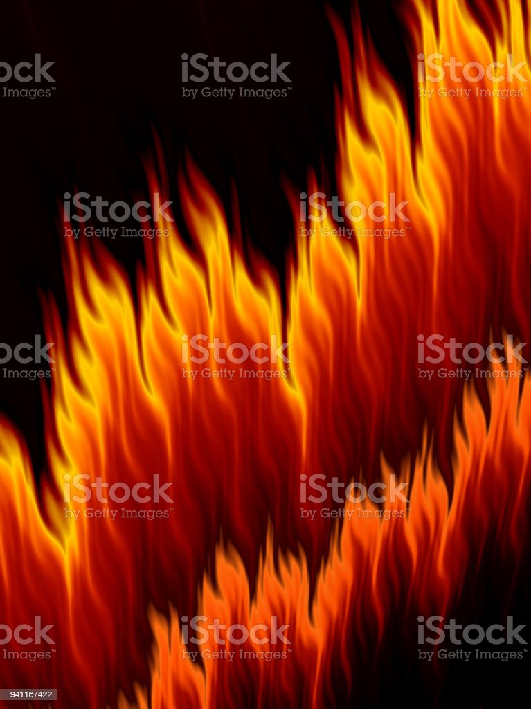 Abstract bright fire flames on black background vector art illustration