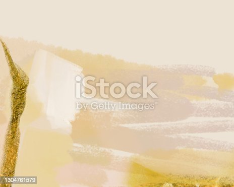 istock Abstract brush stokes modern fine art painting digital illustrations in pastel earthy beige nude cream color shades and tints with gold  foil ink brush textures. Contemporary chic art backgrounds 1304761579