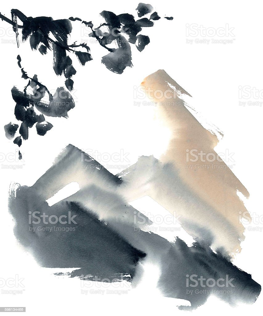 Abstract chinese landscape vector art illustration