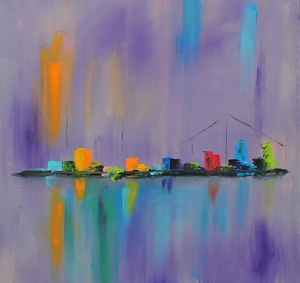Abstract Cityscape with Bridge  Contemporary Art Painting