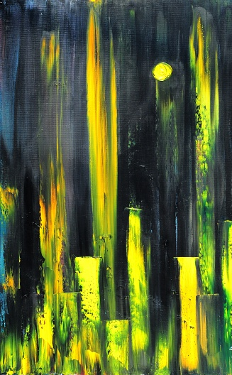 Abstract Cityscape with Yellow Sun Contemporary Art Painting