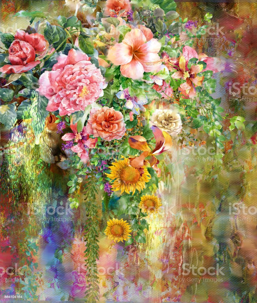 Abstract colorful flowers watercolor painting. Spring multicolored in 'nnature'n royalty-free abstract colorful flowers watercolor painting spring multicolored in nnaturen stock vector art & more images of abstract