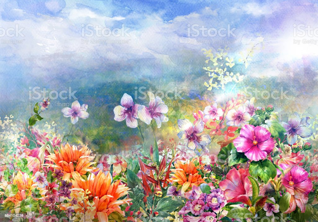 Abstract colorful flowers watercolor painting. Spring multicolored in 'nnature royalty-free abstract colorful flowers watercolor painting spring multicolored in nnature stock vector art & more images of abstract