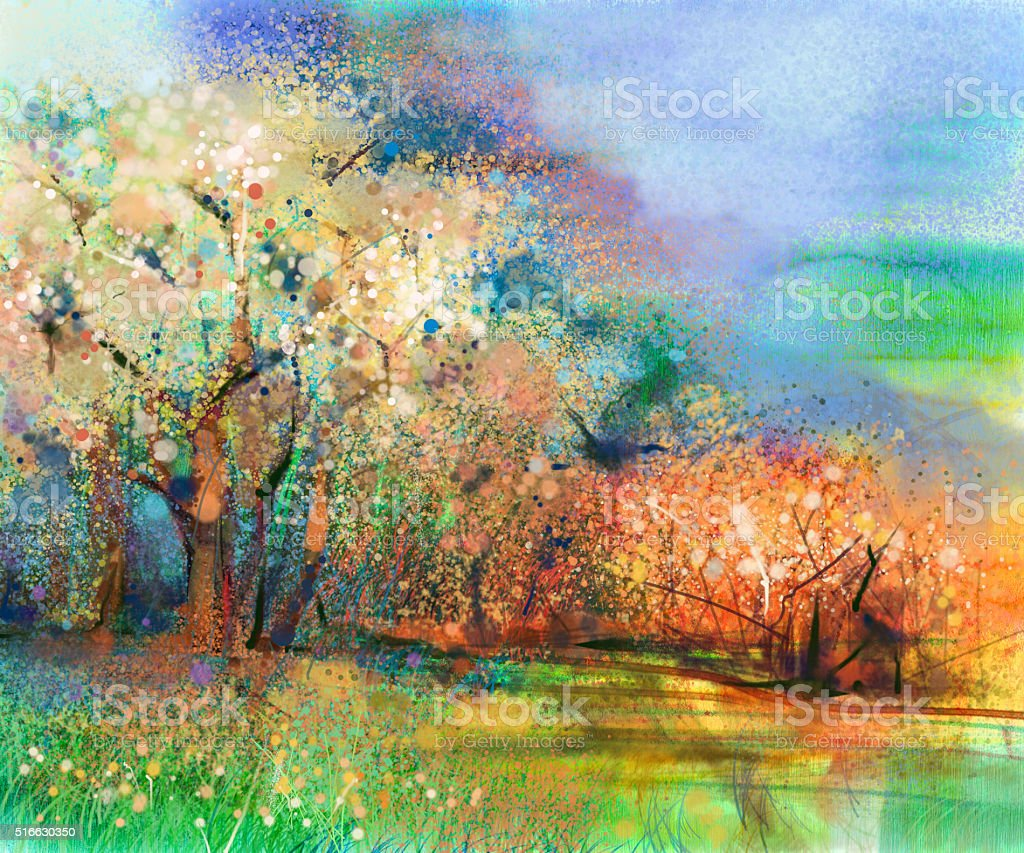 Abstract colorful landscape oil painting vector art illustration