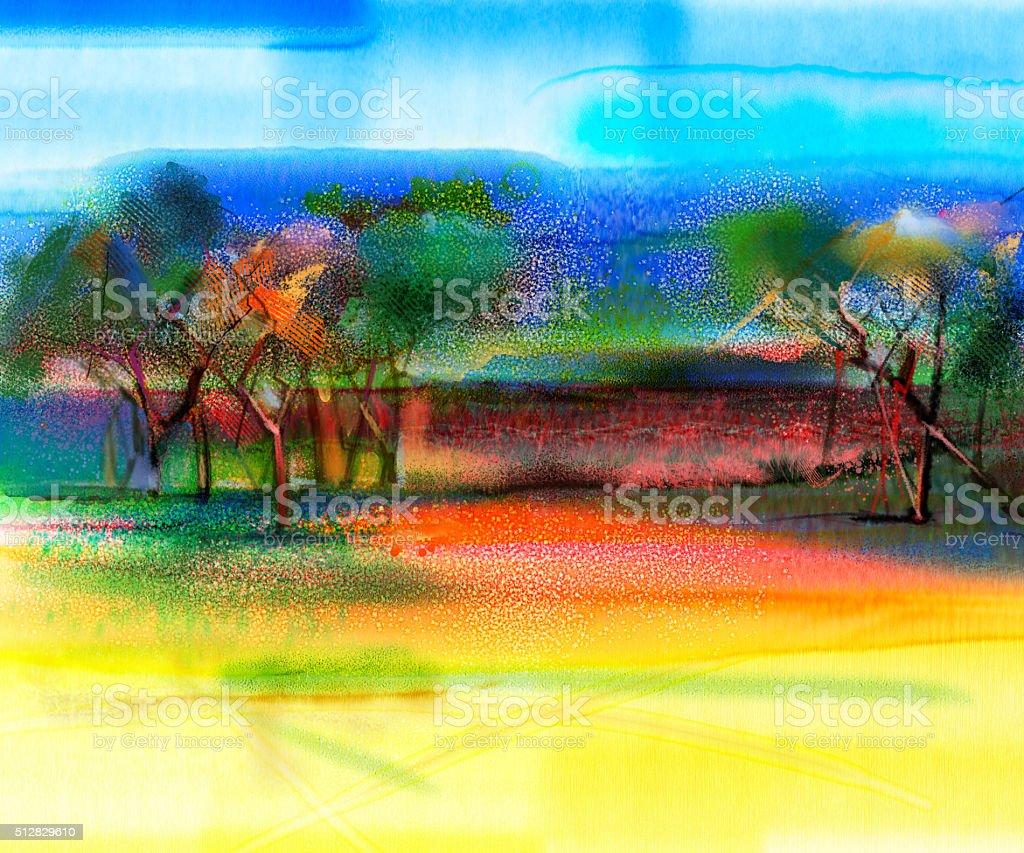 Ilustración de Paisaje Colorido Resumen Pintura y más banco de ...