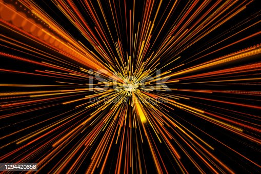 Abstract, Colorful Light Trails, Starburst, Motion Blur, Black Technology Background.